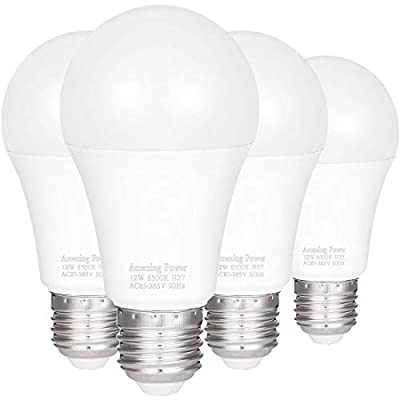 100W Equivalent LED Bulbs A19, AMAZING POWER Daylight White Non-Dimmable Medium Screw Base Light Bulbs 6500K, 4-Pack