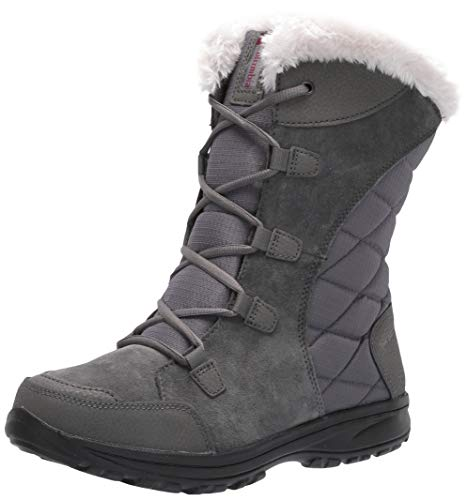 Columbia Women's ICE Maiden II Snow Boot, Shale, Dark Raspberry, 7 B US