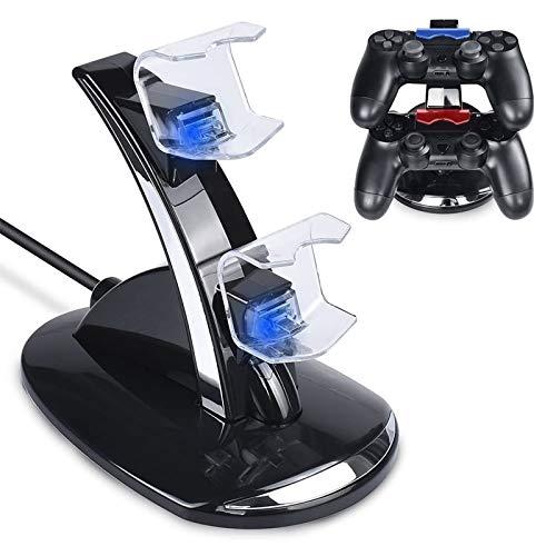 Tihokile PS4 Controller Ladegerät, Dual USB Ladegerät Dockingstation Stand Kompatible Playstation 4 / PS4 / PS4 Pro / PS4 Slim Controller Schwarz, Doppelte Ladestation mit LED Anzeige und USB Kabel