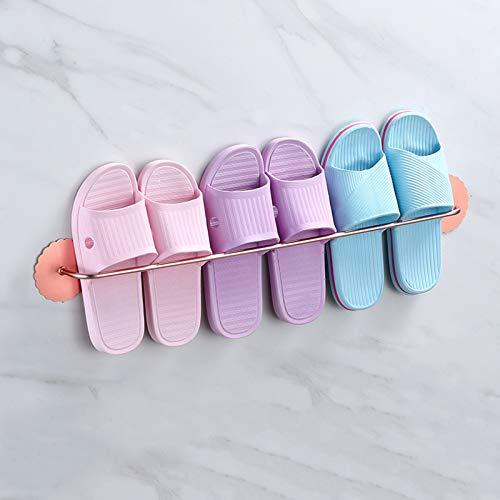 LJKD Estante de inodoro sin perforaciones espacio doméstico de aluminio zapatero almacenamiento zapatillas de baño, oro rosa, 69.5cm
