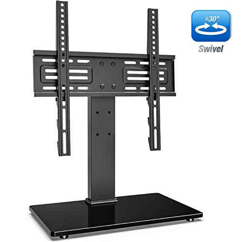 FITUEYES Universal Swivel TV Stand for 27-55 inch LCD LED TVs Height Adjustable TV Base with Tempered Glass Security Wire VESA 400x400mm TT103702GB