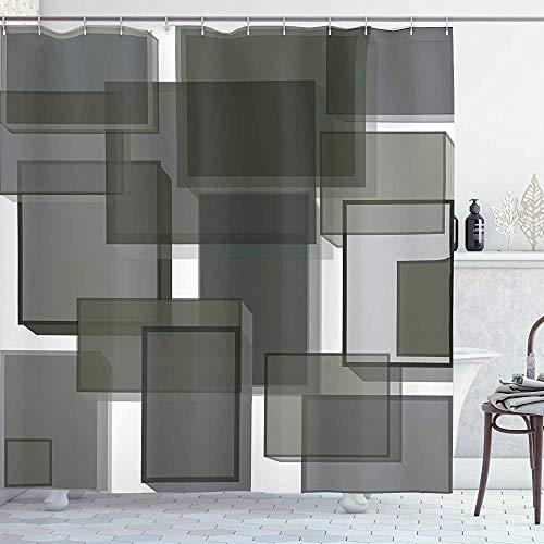 ASDAH Taupe douchegordijn 3 dimensionale kubussen Geometrische moderne abstractie vierkante vormen Print doek stof badkamer Decor Set met haken Taupe grijs 66 * 72in