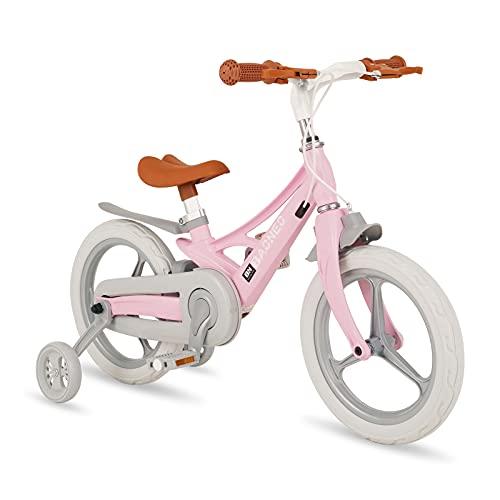 Chinqueeny 子供自転車 14インチ 女の子 キッズバイク 3歳 4歳 5歳 6歳 超軽量 マグネシウム合金製 補助輪付き 組み立て簡単 誕生日プレゼント 入学お祝い クリスマスプレゼント おしゃれ キッズ自転車 幼児自転車 キックバイク