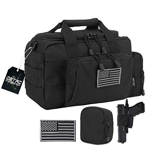 DBTAC Gun Range Bag Small | Tactical 2X Pistol Shooting Range Duffle Bag with Lockable Zipper for Handguns and Ammo (Black)