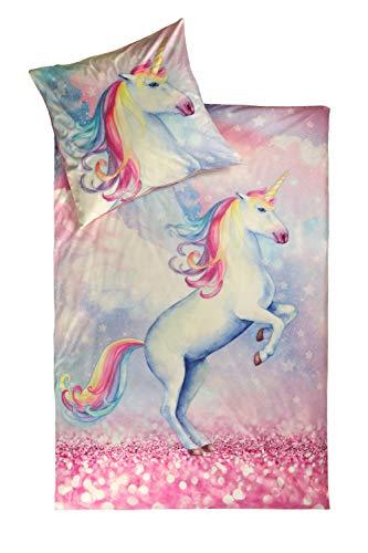 jilda-tex Kuschelbettwäsche Bettwäsche 135x200 cm + 80x80 cm Sparkle Unicorn Einhornbettwäsche