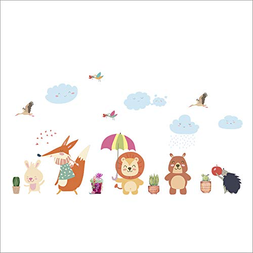 Drôle Ours Hibou Fox Oiseau Lion Parapluie Végétal Stickers Muraux Pour Enfants Chambres Home Decor Cartoon Animaux Mur Art PVC Murale Art Decal