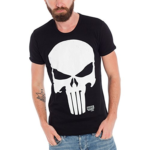 The Punisher - T shirt Marvel - Maglia con stampa frontale - Girocollo - Nero - M