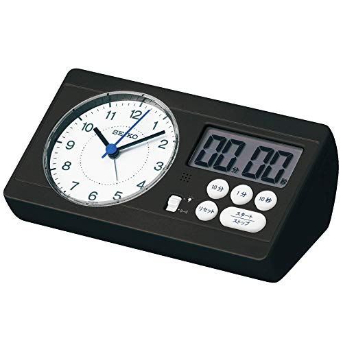 セイコークロック 置き時計 02:黒 本体サイズ: 6.0×16.0×8.9cm 目覚まし時計 百ます計算 陰山英男モデル スタディタイム BC408K