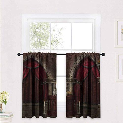 Gothic Half Window Tier Curtain for Bathroom Mysterious Dark Room in Castle Ancient Pillars Candles Spiritual Atmosphere Pattern 2 Panels Rod Pocket Cafe Curtains Short Curtain 30 x 30 inch Red Black