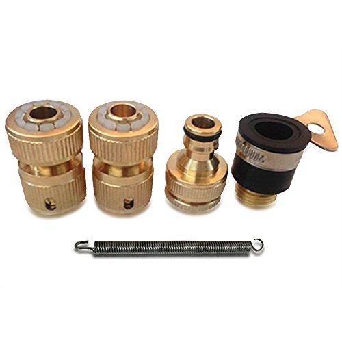 Nuzamas Lot de 4 adaptateurs de tuyau d'arrosage en laiton massif pour tuyau d'eau de pelouse