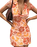 Women Y2K Vintage Mini Dress Tie Dye Heart Print Cami Dresses Harajuku E-Girls 90S Slim Fit Skirts(A Orange,M)