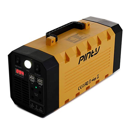 Pinty Portable Uninterrupted Power Supply 300W, UPS Battery Backup, Rechargeable Generator Power Source with AC Inverter, USB, DC 12V Outputs for Outdoors and Indoors (300W, Yellow)