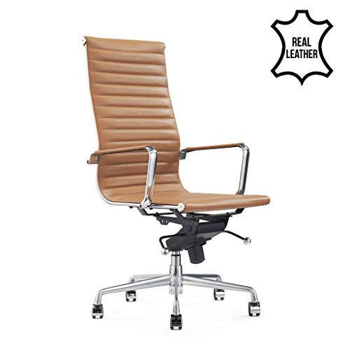 Design-Schreibtisch-Stuhl - Madrid Cognac - Bürostuhl Ergonomisch - 100% Echt-Leder - Bürostuhl 150 kg - Drehstuhl mit Rollen & Armlehnen - Buro Stuhle in Verschiedene Farben