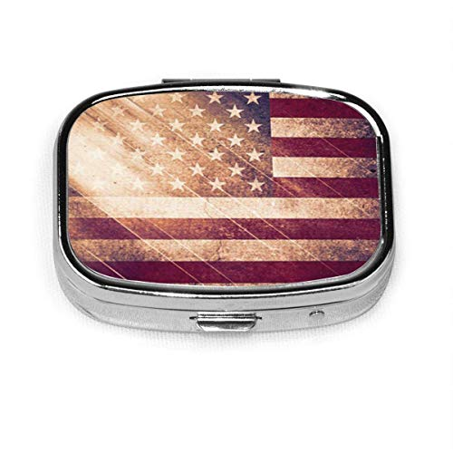 Blue Patriotic USA Flag Red American Rustic America Antique Square Pill Box Decorative Boxes Pill Case Medicine Tablet Holder Wallet Organizer Case for Pocket Or Purse