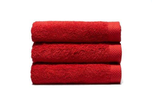Lasa Pure Juego 3 Toallas, algodón 100%, Rojo, Baño (100 x 150 cm), Lavabo y tocador