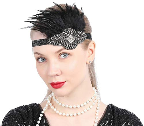 1920s Flapper Headpiece Roaring 20s Great Gatsby Feather Stretch Crystal Diamond Hair Accessories for Women