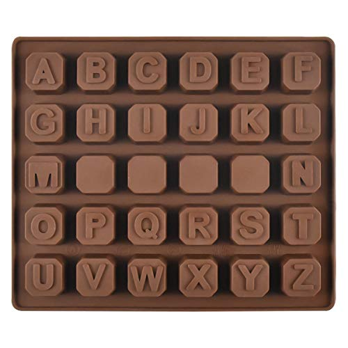 Jinlaili Moldes Bombones Silicona, DIY Alfabeto Moldes Chocolate, Postres Letras Molde, Grado Alimentaria Hornear Molde para Chocolate Caramelos Cubitos Hielo - Marrón