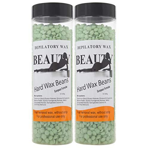 Bonjanvye Hair Removal for Men Hard Wax Strip Free Hard Wax Beans 800g Green Tea
