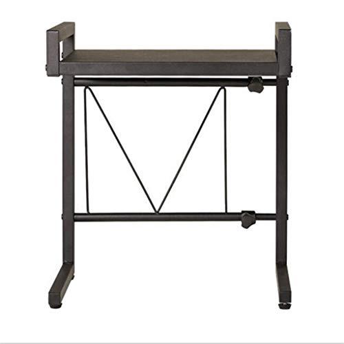 Estante de cocina para microondas, se puede montar con una buena estabilidad, de una sola capa, de acero al carbono, apto para cocina, oficina, baño, color negro, retráctil de 15.7 a 23.6 pulgadas
