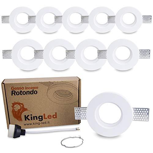 King Led - 10x Portafaretto Tondo Slim in Gesso CERAMICO da Incasso per GU10 e MR16 per Controsoffitti cod. 0627