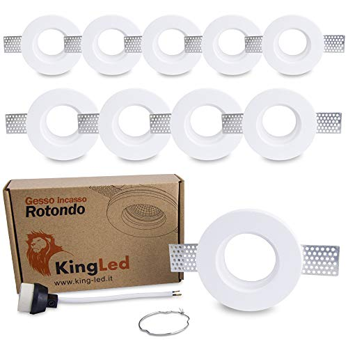King Led - 10x Portafaretto Tondo Slim in Gesso CERAMICO da Incasso per GU10 e MR16 per Controsoffitti cod. 0627