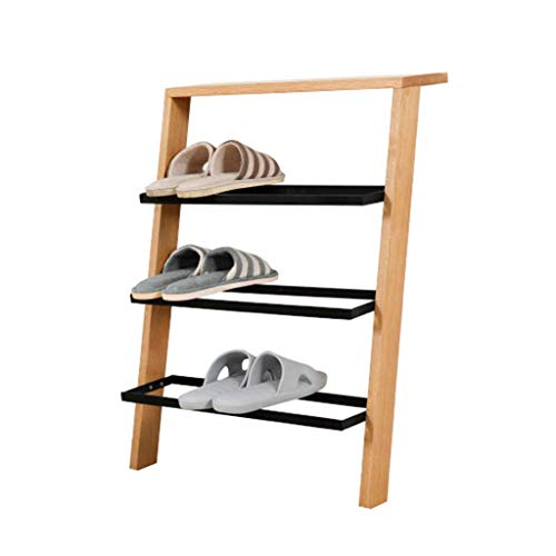 Estantes para zapatos de madera maciza estilo escalera nórdica de 4 niveles Estantes creativos de exhibición de almacenamiento de zapatos escalonados en el pasillo, dormitorio, color madera, L55 & tim