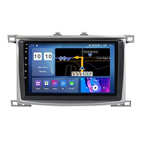 ADMLZQQ Android 10.0 Navegación GPS Radio para Automóvil para Toyota Land Cruiser 100 2002-2007, Pantalla Táctil 9 Pulgadas Carplay FM Am Bluetooth Cámara Trasera Control Volante,A,M200S 8Core 2+32G