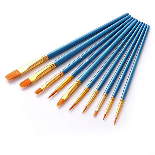 Silithus Pinsel 12-teiliges Set, Profi Feinspitze Pinselset Rundspitze Nylonhaar Künstler Acrylpinsel für Acryl Aquarell Ölgemälde (Flat-10-blue)