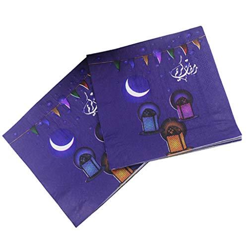non-brand 20x Einweg Servietten Papierservietten Tissueservietten mit Ramadan Stil Bedruckt für Arabische Menschen - C