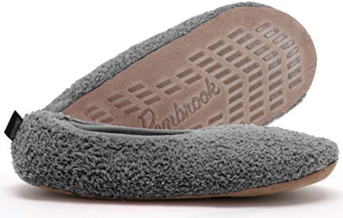 Super Soft Slipper - Gray - Large (9-10.5) - Memory Foam - Faux Shearling Lining - Great Plush Slip On House Slippers for Adults, Women, Girls
