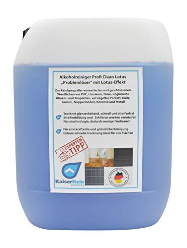 KaiserRein Bodenreiniger Fliesen und Oberflächen-Reiniger Profi Clean Lotus Konzentrat 10 L Kanister Glanzreiniger Alkoholreiniger Universalreiniger auch für Wischroboter und Reinigungsautomaten
