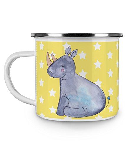 Mr. & Mrs. Panda Tassendruck, Metalltasse, Camping Emaille Tasse Einhorn Nashorn - Farbe Gelb Pastell