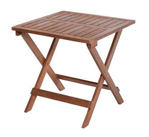Spetebo Klapptisch aus Akazien Holz - 45x45x45 cm - Holz Biergarten Tisch Bistrotisch Balkontisch Gartentisch