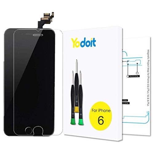 Yodoit Komplett Display kompatibel mit iPhone 6 Schwarz, 4,7'' Ersatz Bildschirm Retina LCD Glas Reparaturset mit Touchscreen, inkl. integrierte Frontkamera, Home Button, Hörmuschel & Werkzeug