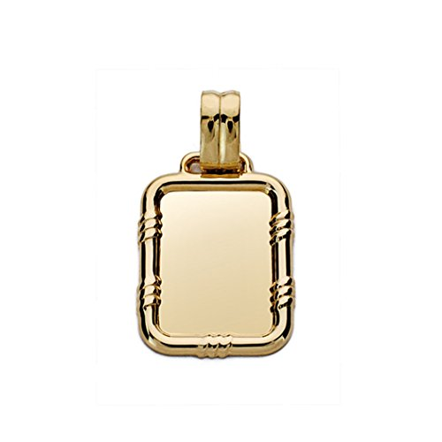 Colgante chapa oro 18k labrada 20mm [AA0488GR] - Personalizable - GRABACIÓN INCLUIDA EN EL PRECIO