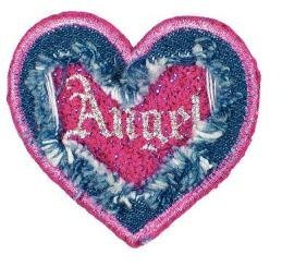 Motif br. jeans, coeur, grand format, Angel