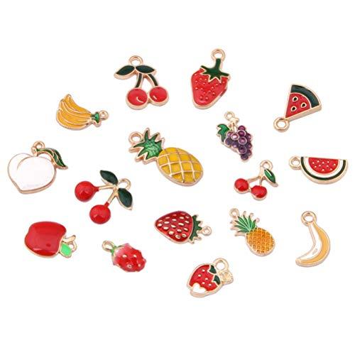 LIOOBO, Piccoli ciondoli in Lega a Forma di Frutta per collane, bracciali, Orecchini, Accessori per la creazione di Gioielli, 16 Pezzi (Stile Casuale)