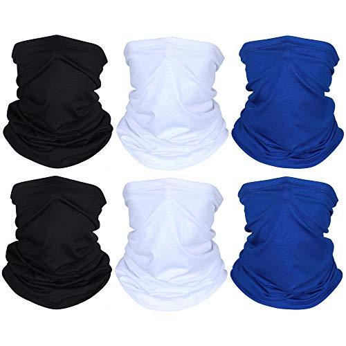 6 Pieces Summer UV Protection Face Clothing Neck Gaiter Scarf Sunscreen Breathable Bandana (Black, White, Royal Blue)