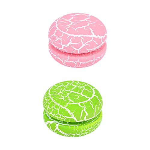 Toyvian 2Pcs Mini Yoyo Toy Colorful Crackle Wooden Yo-yo Ball Toy Macaron Shape Yo-yo Ball Kids Educational Plaything for Children Gift Yoyo Beginner Pink Green
