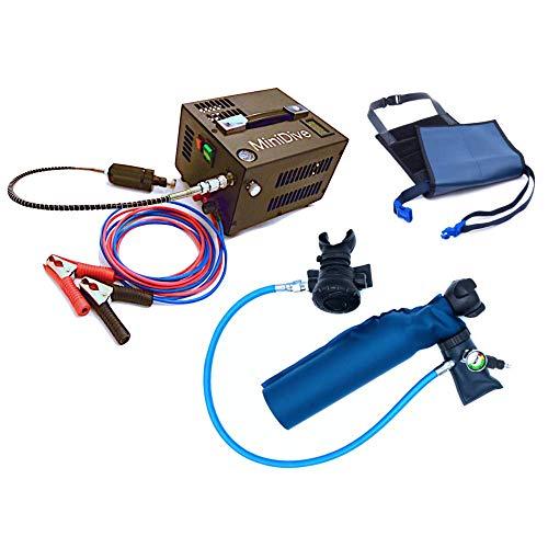 MiniDive MiniDuikfles 0,5 L Blauwe Aluminium Duikfles Met 12 V Hoge Druk Compressor En Houdend Harnas I Duikuitrusting Unisex