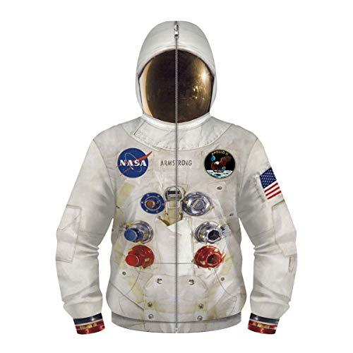 Felpa con Cappuccio per Bambini Ragazze Ragazze NASA Stampa 3D Felpa con Cappuccio Tasca a Marsupio Astronaut Felpa con Cappuccio con Maschera Zip Regalo Bambino,145 cm-150 cm,L