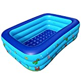 Inflatable Pool Family Swimming Pool Inflatable Swimming Kiddie Pools Rectangular Paddling Pool for Kids, Adults, Babies, Outdoor, Garden, Backyard, 3 Individual Air Chambers,130cm