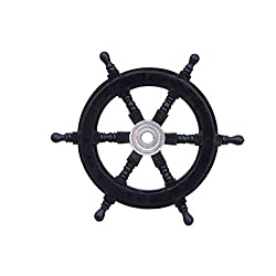 Hampton Nautical  Deluxe Class Black Wood and Chrome Decorative Pirate Ship Steering Wheel 12 - ation