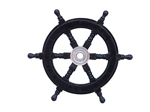 """Handcrafted Model Ships Deluxe Class Black Wood and Chrome Decorative Pirate Ship Steering Wheel 12"""" - Nautical Decoration"""