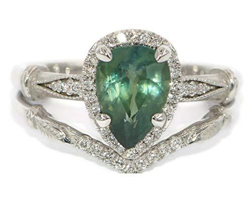 Art Deco Teardrop Bridal Set 1.25Ct Pear Simulated White Opal Diamond CZ 925 Sterling Silver Teardrop Ring Ring Band Wedding Engagement