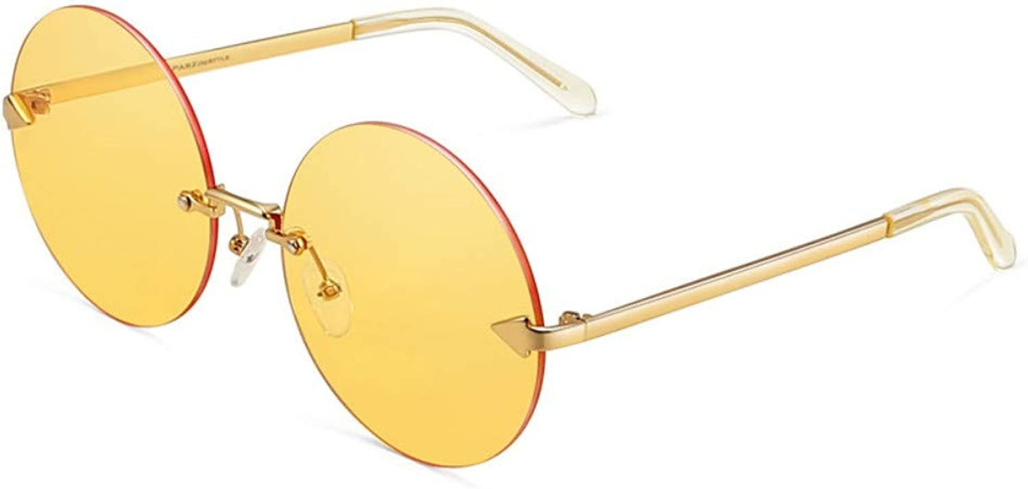 Sunglasses Women'S Metal Arrows Round Frame Psychedelic Light color Retro Trends Sunglasses Yellow