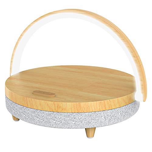 TELAM Lámpara de Mesa Multifuncional 4 en 1, luz Nocturna LED de cabecera Ajustable al Tacto, con Cargador inalámbrico de 10 W y Soporte para teléfono móvil, Altavoces Bluetooth para bebés, Adultos