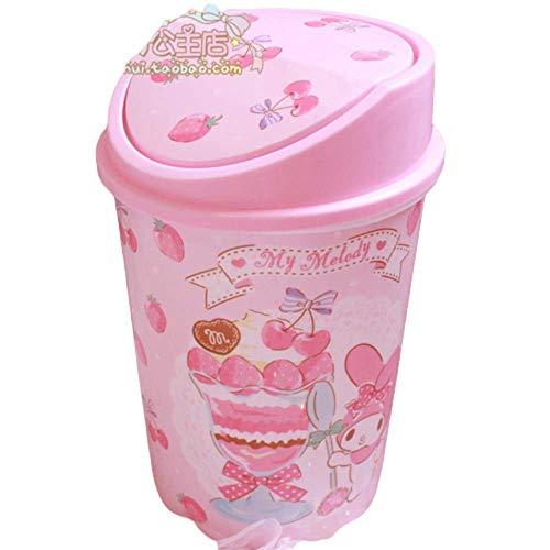 huixu Perro de Dibujos Animados pequeñas Estrellas gemelas Kawaii Rosa plástico hogar Papelera Cocina Dormitorio Papelera con Tapa, melodía
