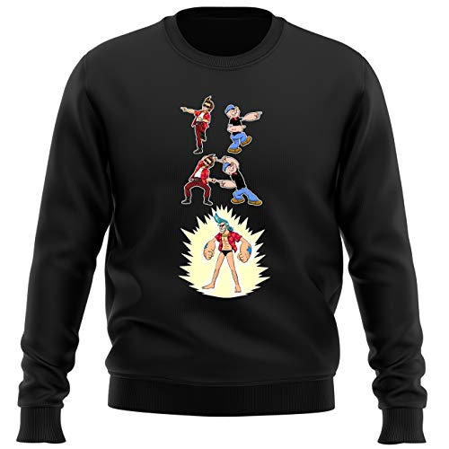 Pull Noir Parodie One Piece - Popeye - Franky, Ace Ventura et Popeye - Fusion YAHAAAAA !!! (Super Splendide :) (Sweatshirt de qualité Premium de Taille L - imprimé en France)