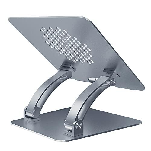 LNX Soporte para Computadora Portátil, Soporte ergonómico para computadora portátil Ajustable en Altura y ángulo, Placa elevadora para portátil con Orificios de refrigeración, Gris Plata